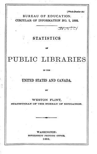Statistics of Public, Society and School Libraries by United States. Office of Education.